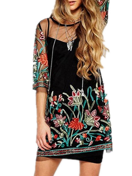 Sheath Crew Neck Embroidered Sexy 3/4 Sleeve Dress
