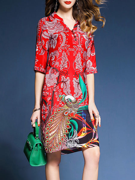 Red 3/4 Sleeve Tribal Stand Collar Printed Dress