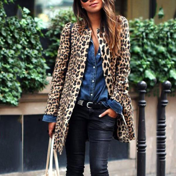 Leopard Stand Collar Long Sleeve Shift Coat