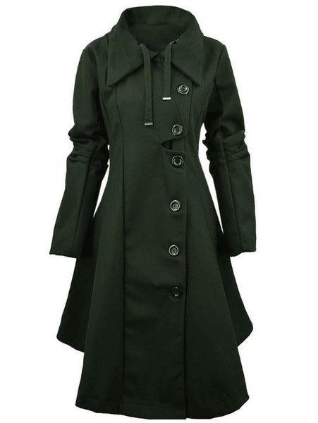 Casual Long Sleeve Buttoned Solid Coat