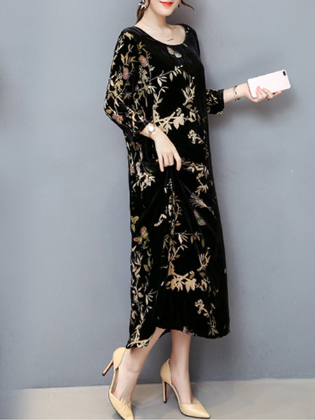 Black Shift Crew Neck Long Sleeve Velvet Dress