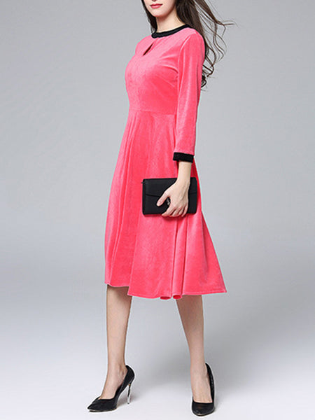 Long Sleeve Velvet Paneled Elegant Shift Keyhole Dress