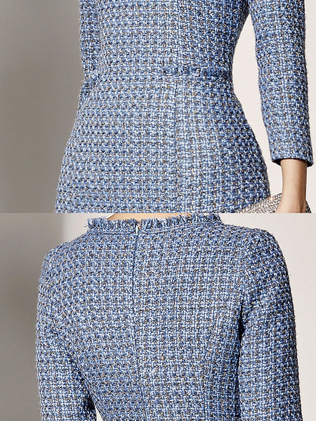 Women Elegant Party Dresse Pockets plaid Crew Neck Midi Dress