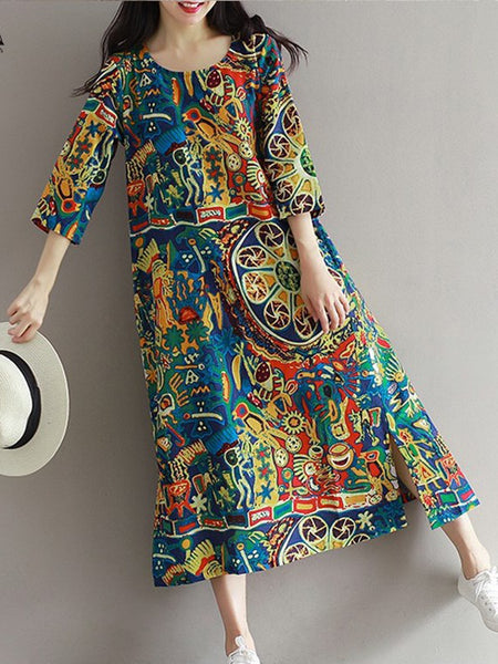 Casual 3/4 Sleeve Casual Printed Dress