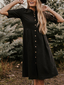 Black Crew Neck Buttoned 3/4 Sleeve Solid Dress