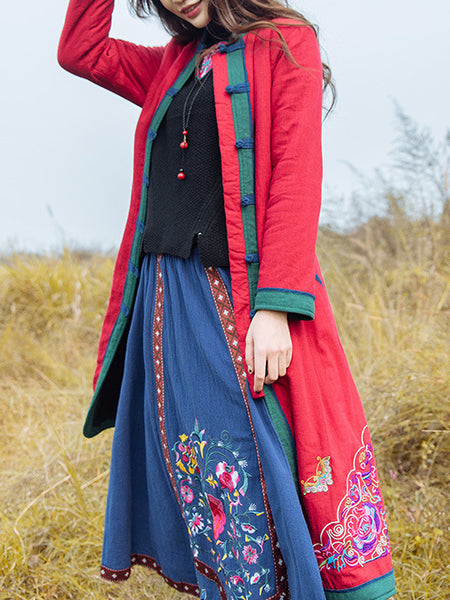 Red Floral Vintage Stand Collar Cotton Coat
