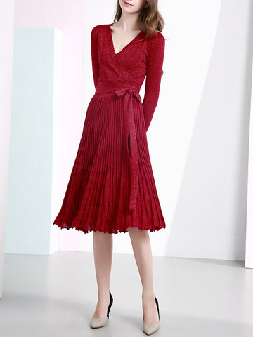 Daytime A-Line Surplice Neck Shimmer Elegant Pleated Striped Dress