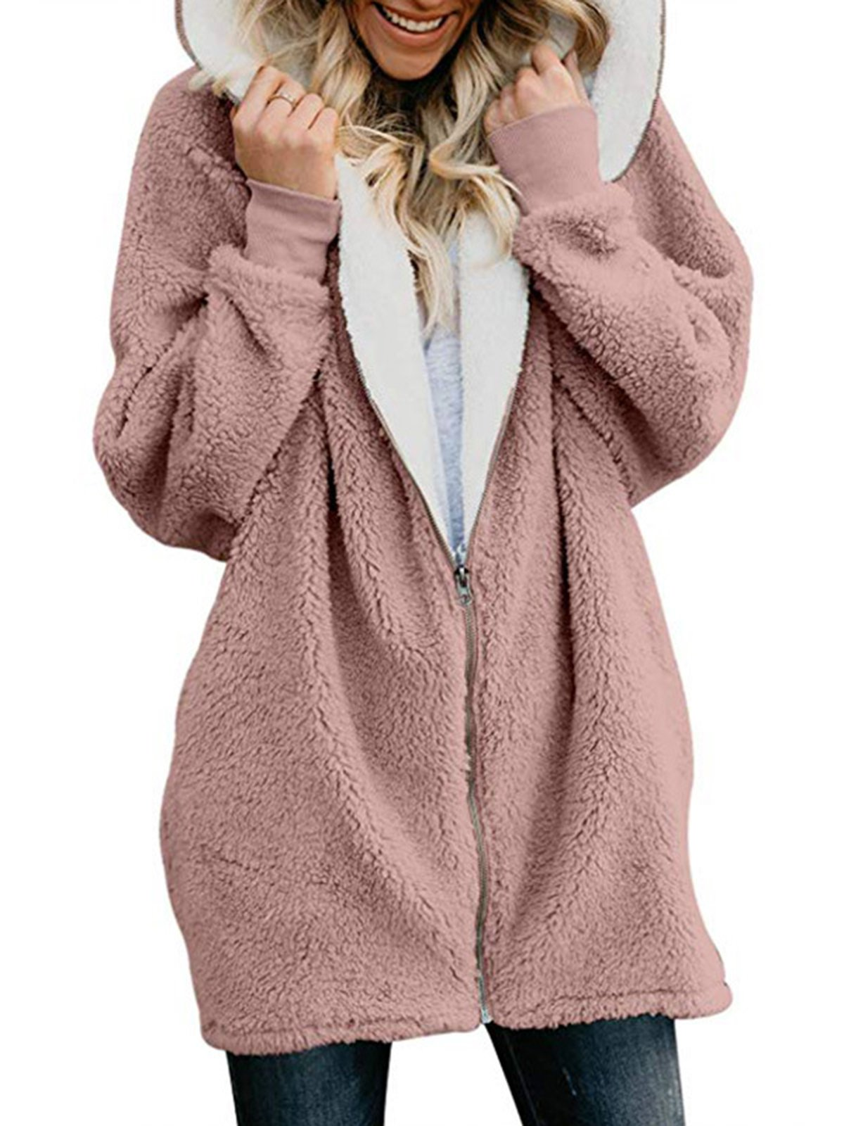 Zipper Long Sleeve Hoodie Coat
