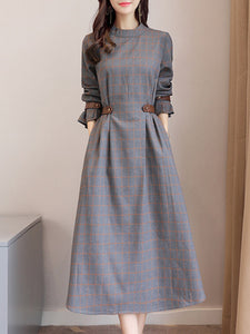 Gray Cotton Crew Neck Buttoned Long Sleeve Dress