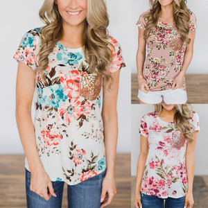 Casual Crew Neck Short Sleeve Printed Floral Blouses