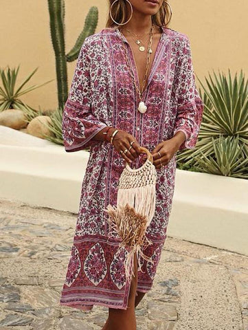 Summer Bohemian Style V Neck Tribal Printed Dress