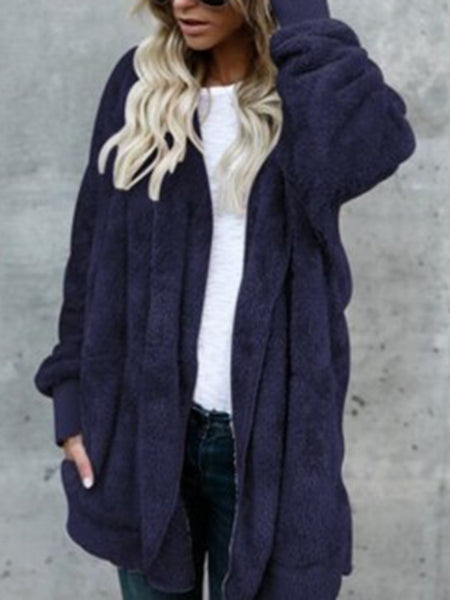 Casual Solid Batwing Shift Reversible Pockets Coat