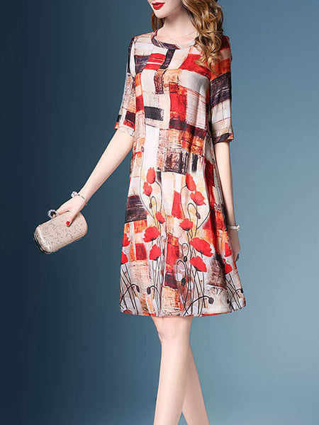 Printed Polyester Half Sleeve Floral Dress