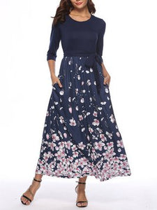 Navy Blue A-Line Casual Pleated Dresses With Belt