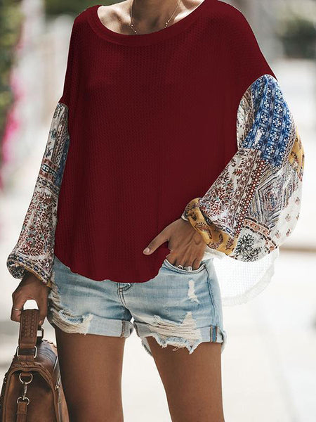 Plus Size Casual Long printed Sleeve T-shirt