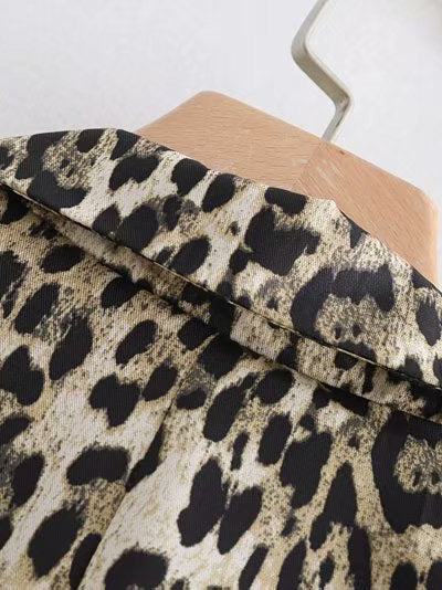 Leopard Shift Buttoned Casual Long Sleeve Coat