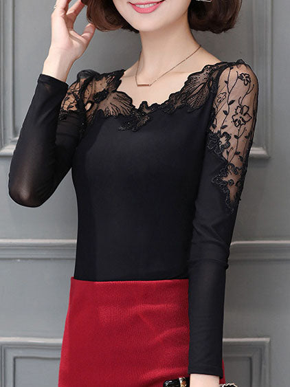 Solid Long Sleeve Casual Sexy Crew Neck Shift Appliqued blouses