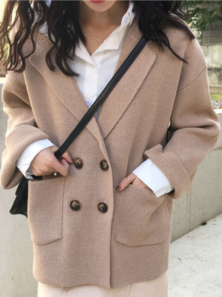 Long Sleeve Casual Solid Pockets Coat