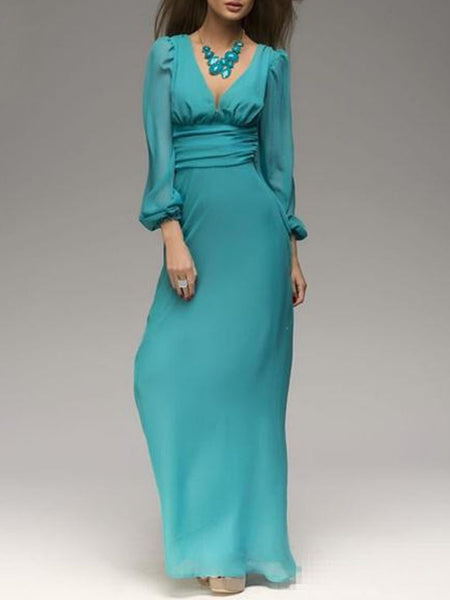 Elegant Balloon Sleeve Deep V-Neck A-Line Dresses