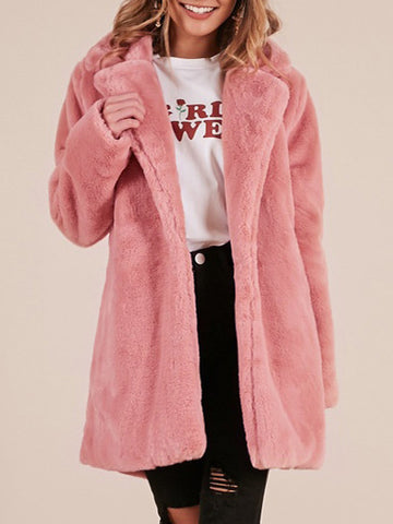 Casual Long Sleeve Winter Fluffy Coat