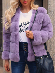 European and American Horizontal Plush Horizontal Faux Fur Coat