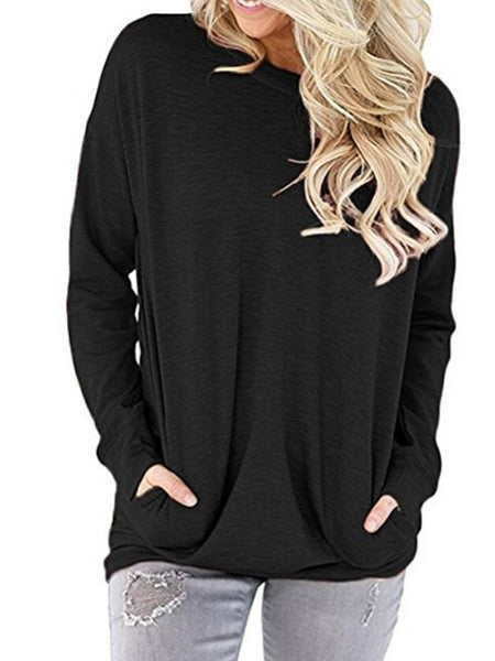 Long Sleeve Crew Neck Pockets Shirts
