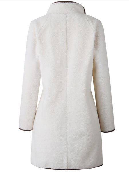 Long Sleeve Shift Solid Cotton Coat
