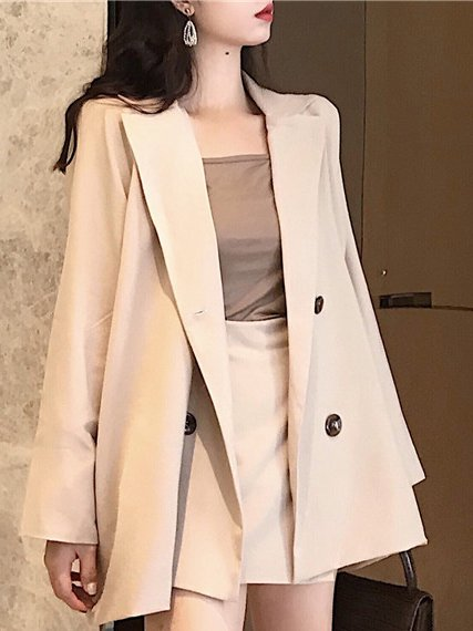 Shift Buttoned Solid Long Sleeve chic lady Suit