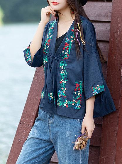 3/4 Sleeve Cotton Embroidered Vintage Coat