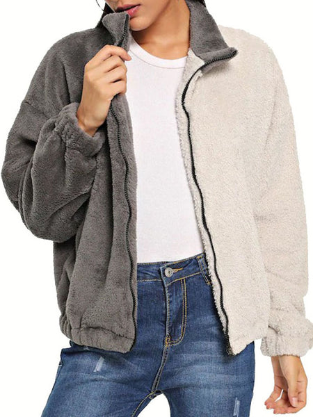 White-Gray Color-Block Casual  Stand Collar Coat