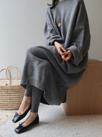 Cocoon Crew Neck Casual Knitted Dress