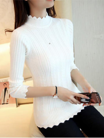 Solid color vertical stripes knit sweater