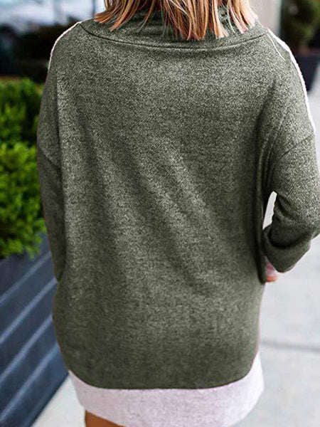 Pocket-style cotton sweatshirts with fur stitching and stand-up collar