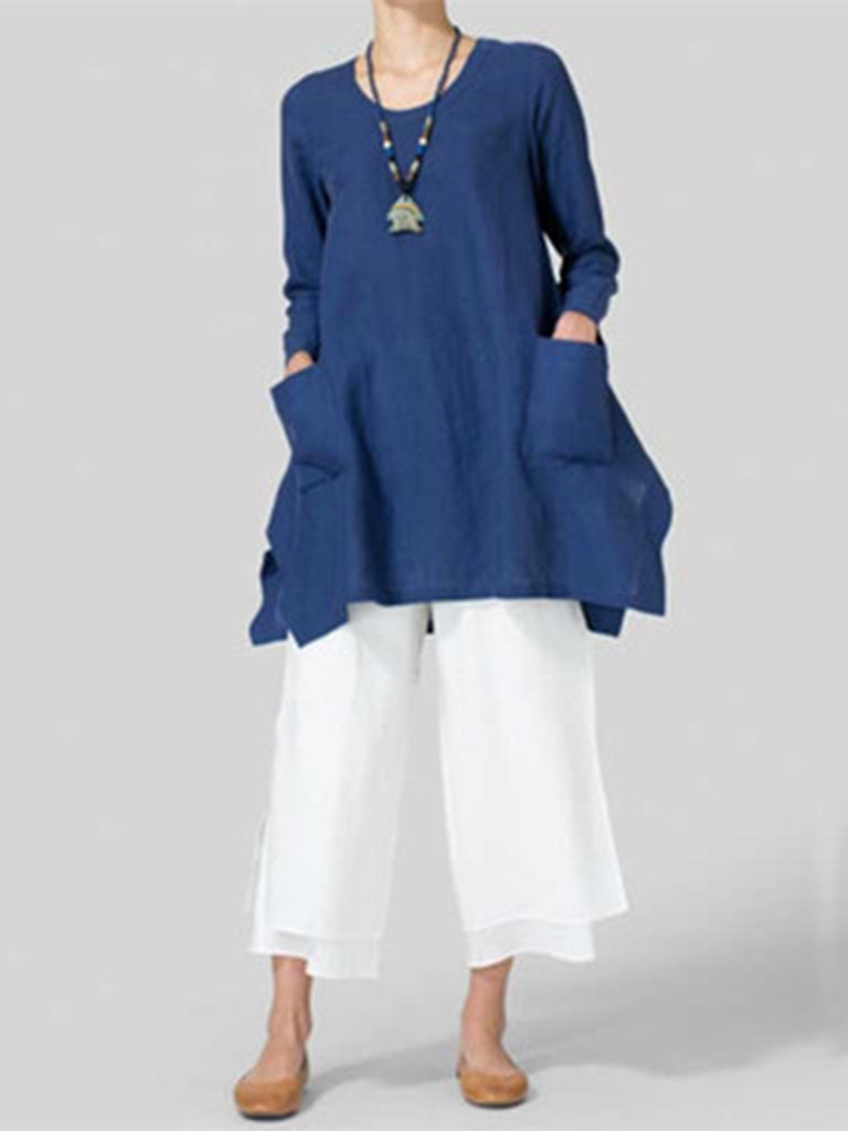 6b7661a9272 ... Plus Size Solid Pockets Casual Crew Neck Long Sleeve Asymmetric T-Shirt  ...