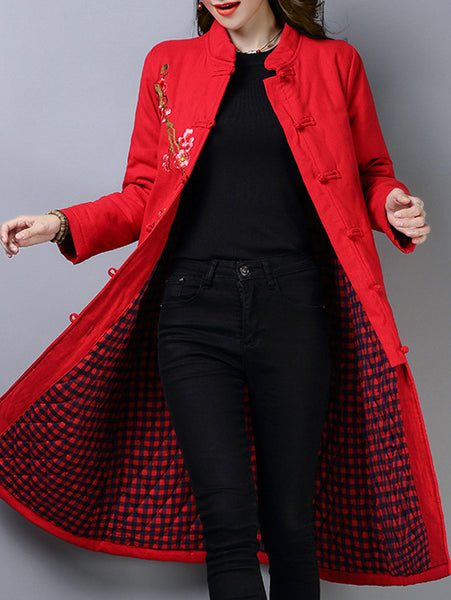 Stand Collar Vintage Printed Casual Coat