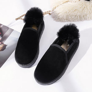 Women's Flat Heel Fur Snow Boots  Daily Suede Convenient