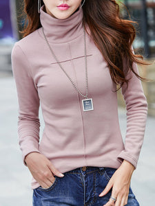Solid Long Sleeve Casual Turtleneck Shift Sweater