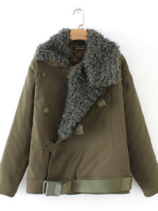 Army Green Casual Shawl Collar Long Sleeve Buttoned Coats
