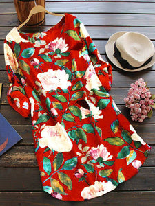 Casual Floral Long Sleeve Crew Neck Floral Dress