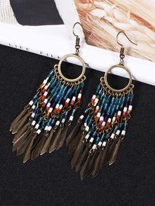 Bohemian Beaded Pendant Tassels Earrings