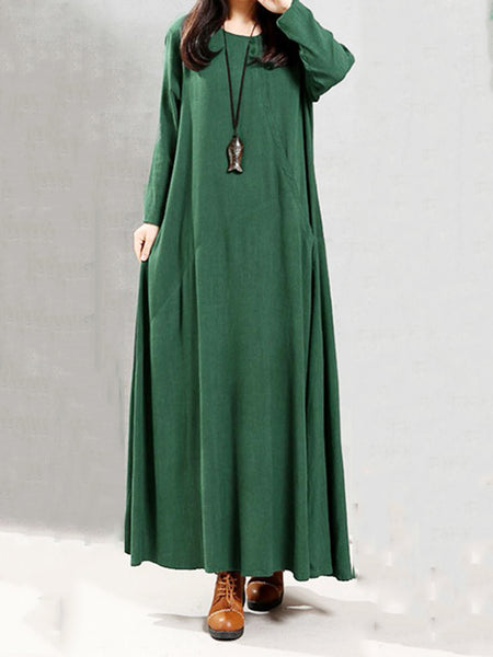 Date Shift Crew Neck Casual Long Sleeve Paneled Dress