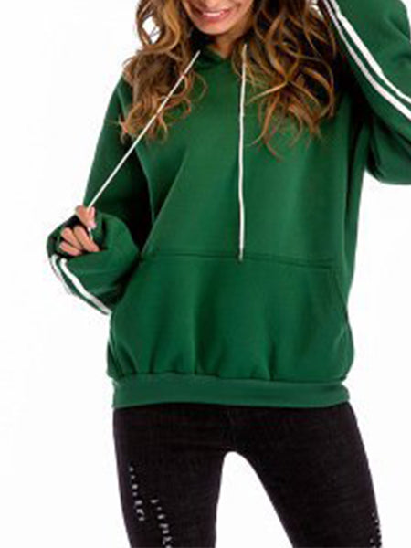 Paneled Casual Solid Hoodies