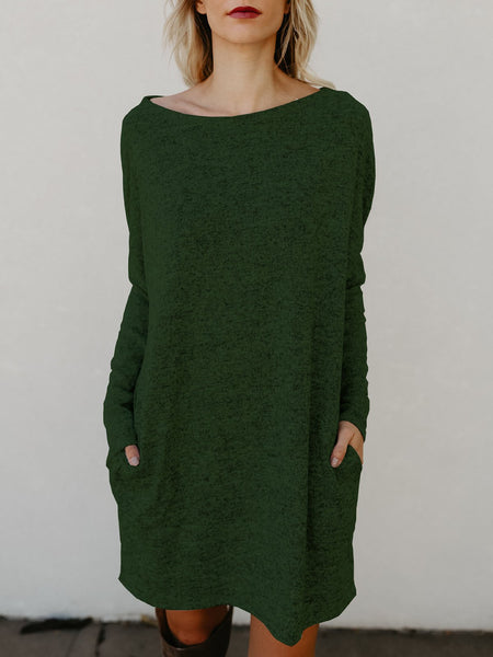 Daytime Boat Neck Simple Basic Knitted Long Sleeve Shift Dress