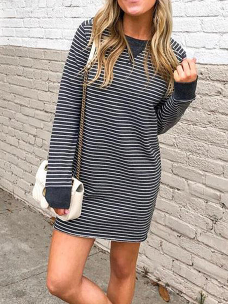 Black Long Sleeve Casual Striped Crew Neck Dress