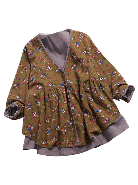 Long Sleeve  V Neck Floral Casual  Blouse