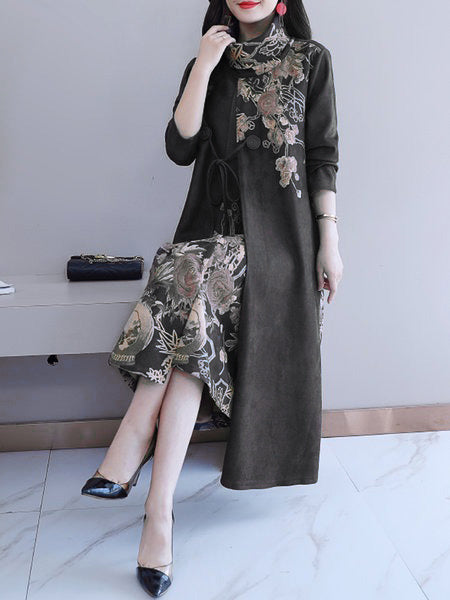 Floral Printed Turtleneck Long Sleeve Dress