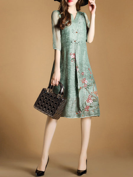Half Sleeve Vintage Floral-print Plus Size Dress