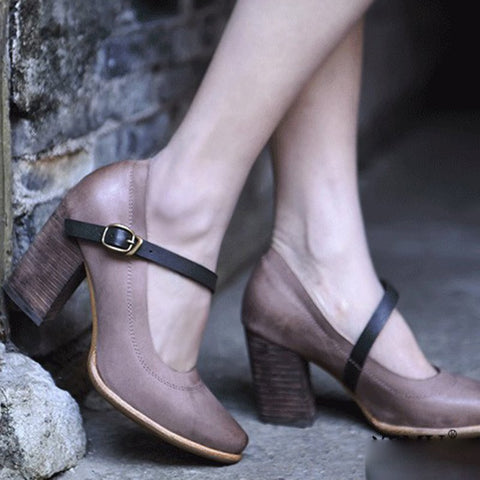 Elegant Chunky Heel Buckle Strap All Season Pumps