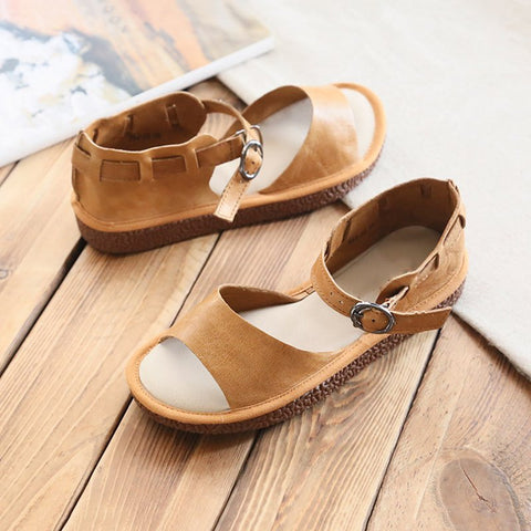 Comfy Summer Buckle Flat Heel Sandals