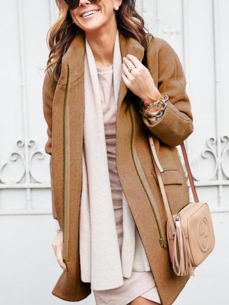 Stand-Up Neck Pockets Long Sleeve Solid Coat